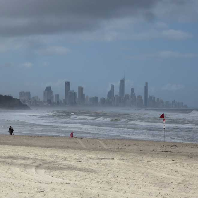 Main surf beach at Burleigh Heads with Surfers Paradise in the distance