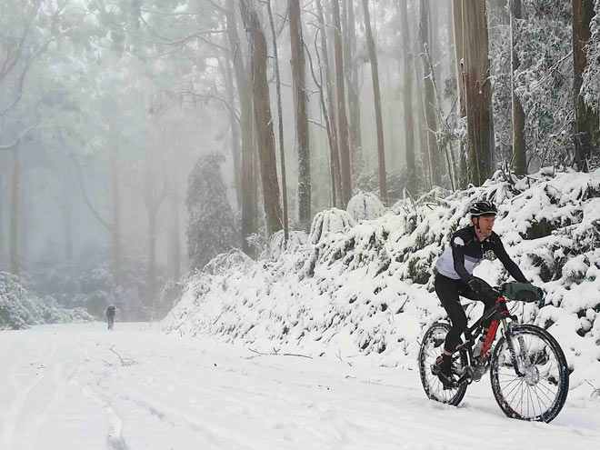 Riding through Snow Mount Donna Buang