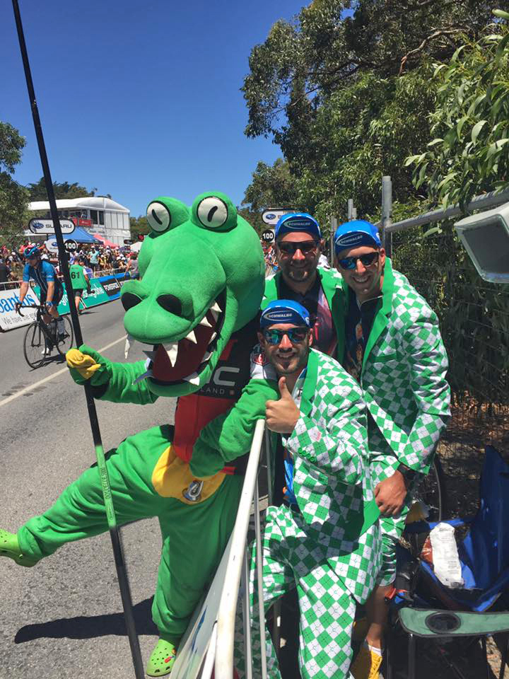 Wolfpack at TDU with Crikey Cadel, the unoffical BMC Mascot